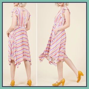 ModCloth Verified Vacationer Dress Vibrant Stripe